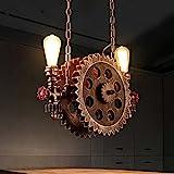Industrielle Kronleuchter Retro 2 Lichter, Korridor Cafe Bar Restaurant Pendelleuchte Bronze Farbe Große Zahnrad Deckenleuchten Holz, Wasserrohr Lampe E27, 110V ~ 240V