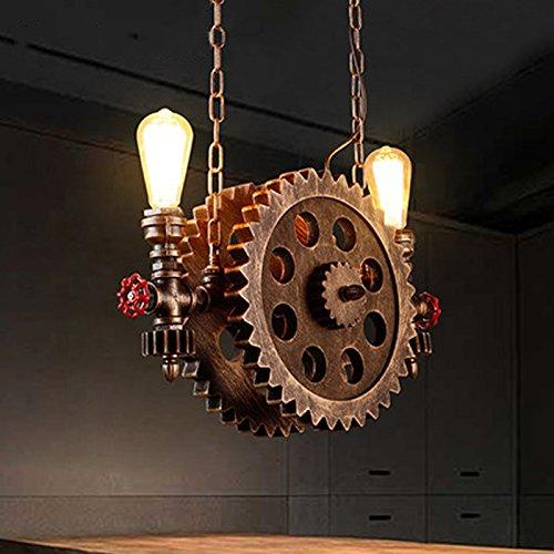 Gweat Retro industrieller Art großer Zahnrad Leuchter für Restaurant, Stab, Café, Treppenhaus, Korridor-hängendes Licht, Bronzefarbe, Holz Rad, Metallwasserrohr, E27, 110V~240V