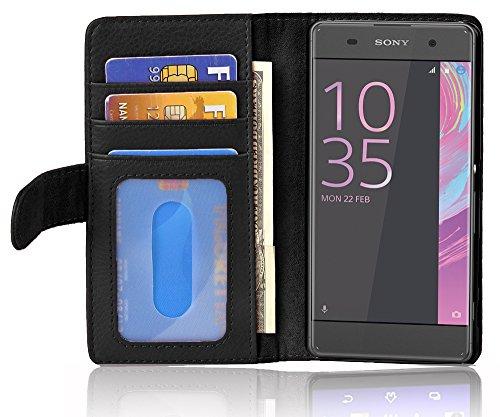 Preisvergleich Produktbild Cadorabo Hülle für Sony Xperia XA - Hülle in Oxid SCHWARZ – Handyhülle mit 3 Kartenfächern - Case Cover Schutzhülle Etui Tasche Book Klapp Style