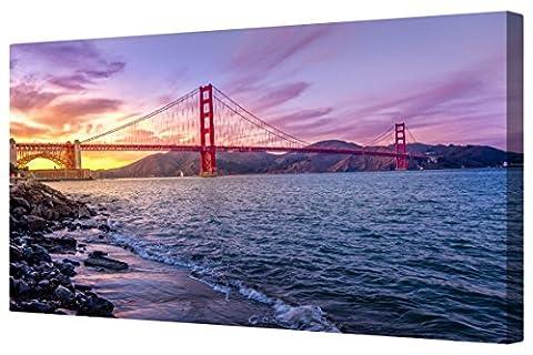 Canvart Pacific Ocean Golden Gate Bridge Panoramic Framed Canvas Print [M]