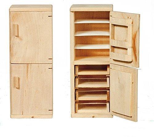 Melody Jane Puppenhaus Kühl-/Gefrierkombination unvollendet unbehandeltes Holz Miniatur Möbel