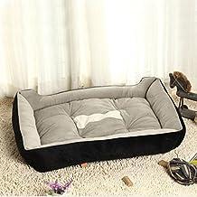 QHGstore Ampliación de paño grueso y suave caliente del animal doméstico del perro de la perrera perrito del gato de la cama del amortiguador de la estera del cojín Casa Negro S
