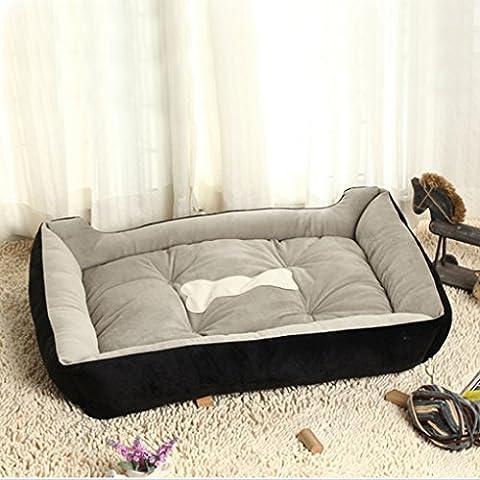 QHGstore Grand Chaud Doux Fleece Pet Dog Kennel Puppy Cat Lit Coussin Mat Pad Maison Noir XXS