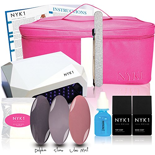 NYK1 UV Basics PLUS - Nailac Gel Nail Polish Starter Kit 3 X COLOURS Quartz, Beau-Belle, Colette Free BEAUTY KIT CARRY CASE 36w UV Lamp plus TOP & BASE COAT, Metal Cuticle Pusher, White Buffer, Jumbo File, 200 LINT FREE WIPES PREP & SHINE RESIDUE REMOVER and FULL Instructions Booklet. Everything you need to complete stunning glossy beautiful long lasting Manicure & Pedicures by NYK1