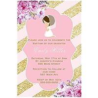 30 invitaciones personalizadas para comunión floral, papel fotográfico ...