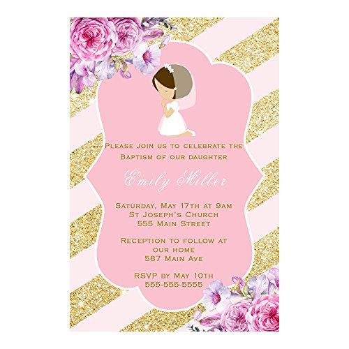 30 invitaciones personalizadas para comunión floral, papel fotográfico rosa dorado