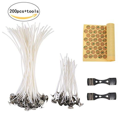 Stoppino di candela,lanmok stoppini preformati da 200 pezzi con linguette di rinforzo e adesivi stoppini bilaterali per fare candele artigianali fai-da-te,90 mm e 200 mm di lunghezza