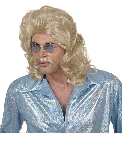 PERÜCKE - 70er JAHRE - mit Schnurrbart, blond, Mann Disco (70er Jahre Disco Kostüme Männer)