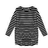 Damen Layerlangarmshirt Sweatshirt DDLBiz® Frauen Runde Hals gestreift Langarm t-Shirt Hemd (L, Schwarz)