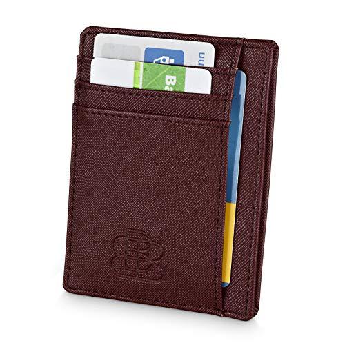 Geldbörse Herren Klein - 8 Kartenfächer - Kleines Portmonee - Kreditkartenetui RFID NFC Schutz - Karten Portemonnaie Männer - Smart Wallet Slim Braun Kartenbörse