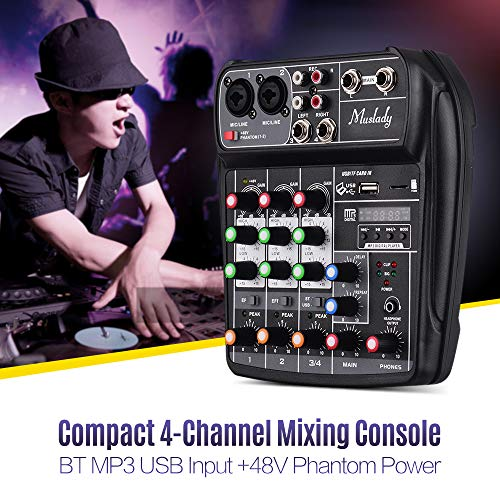 Lepeuxi Muslady AI-4 Compact Soundkarte Mischpult Digital Audio Mixer 4-Kanal BT MP3 USB Eingang + 48V Phantomspeisung für Musikaufnahmen DJ Network Live Broadcast Karaoke Digital Network Farbe