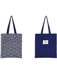 87ec541716 Drawihi Borsa Shopper de Donna Borsa della Spesa in Tela di Cotone Stampa  Blu Disponibile su