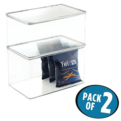 mDesign Set da 2 contenitore frigo per alimenti con coperchio - Contenitore alimenti per mantenere al fresco il cibo - Ideale come contenitore pappa neonato - trasparente
