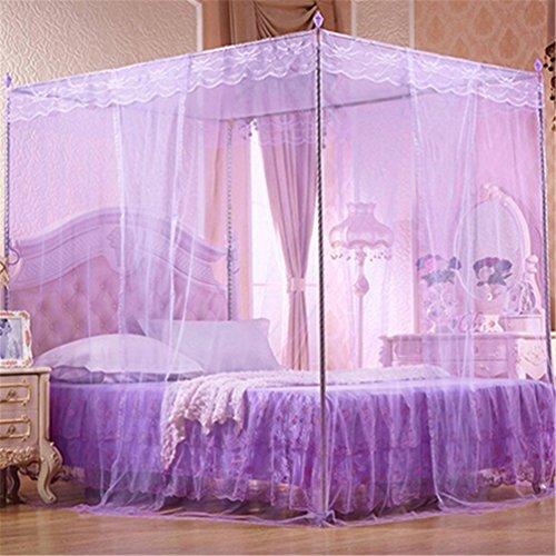 Floralby Spitze Moskitonetz für Doppelbett Baldachin Netz Vorhänge für Twin Full Queen King Bett Full Violett - Bett Baldachin-twin