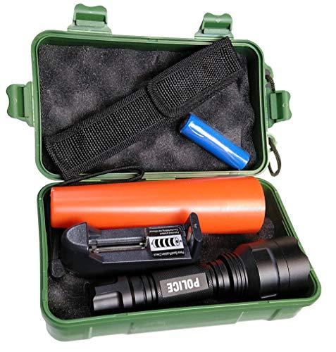 Led Atomant Kit Linterna Policia Led Cree T6 Original, 1000 LM, Resistente al Agua, 5 Modos Flash, con Cono de Trafico. Batería Litio Recargable, Cargador y Caja, 10 W, Blanco Frio 6500K