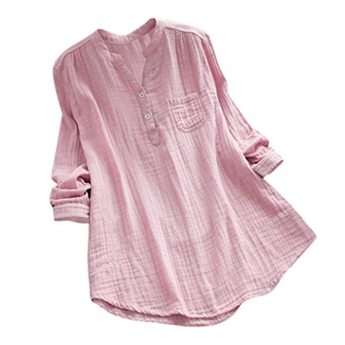 VEMOW Herbst Frühling Sommer Elegante Damen Frauen Stehkragen Langarm Casual Täglichen Party Strand Urlaub Lose Tunika Tops T-Shirt Bluse(Rosa, EU-52/CN-5XL) - Hippie Tunika Bluse