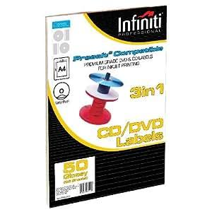 Infiniti Lot de 50 étiquettes pour CD Blanc brillant A4