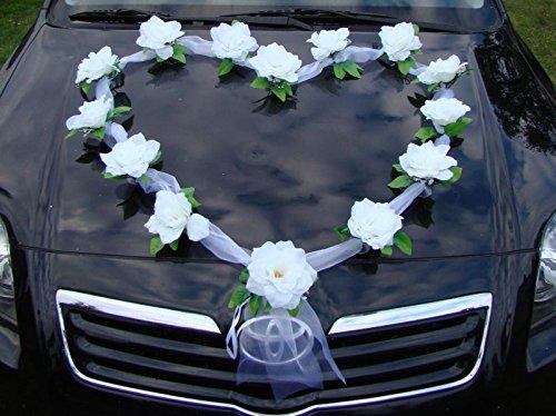 ORGANZA HERZ Auto Schmuck Braut Paar Rose Deko Dekoration Autoschmuck Hochzeit Car Auto Wedding Deko Girlande PKW (Weiß / Weiß)