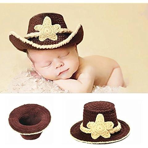 Hrph Sombrero hecho a mano del recién nacido fotografía apoya la mano infantil sombreros del ganchillo