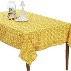 cosanter hule Mantel Mantel Cuidado fácil antimanchas impermeable ropa de mesa, amarillo, 140 cm*140 cm