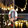 [Remote & Timer] 16 Feet 50 LED Outdoor Globe String Lights 8 Modes Battery Operated Frosted White Ball Fairy Light