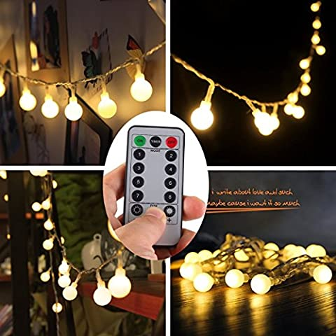[Remote & Timer] 5 Meter 50 LED Outdoor Globe String Lights 8 Modes Battery Operated Frosted White Ball Fairy Light (Warm