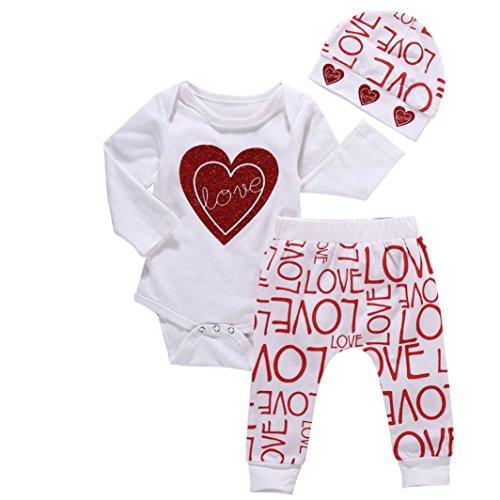 Covermason Bebé Niña Love Print Camiseta y Largo Pantalones y Sombrero (1 conjunto)