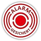 10er Aufkleber-Set Alarm-gesichert I hin_004 I Ø 2 cm I Achtung Gebäude, Objekt besitzt Alarmanlage I für Fenster-Scheibe, Tür I innenklebend