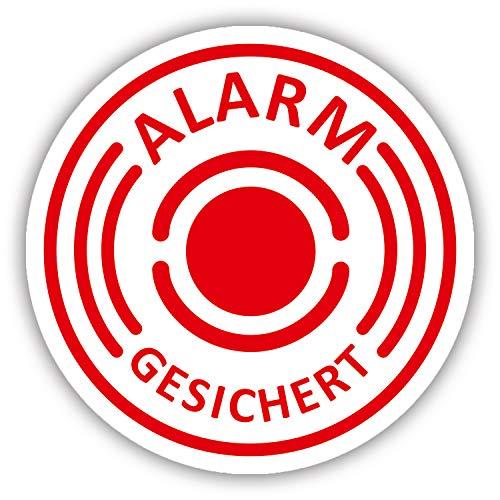 10er Aufkleber-Set Alarm-gesichert I hin_433 I Ø 2 cm I Achtung Gebäude, Objekt besitzt Alarmanlage I für Fenster-Scheibe, Tür I innenklebend Alarm-aufkleber
