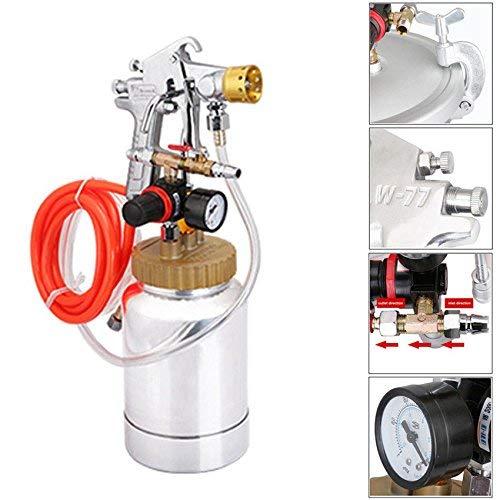 YUEWO 2l NEU Edelstahl High Pressure Pot & Spray Gun w/.2.5Cal Caliber Air Paint Tank Spritze System Komplett Kits für bunte Latex Paint (0.5 Gallone Kit)