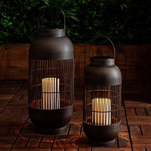 2er Set Solar Laternen Zylinder LED Kerze Lights4fun