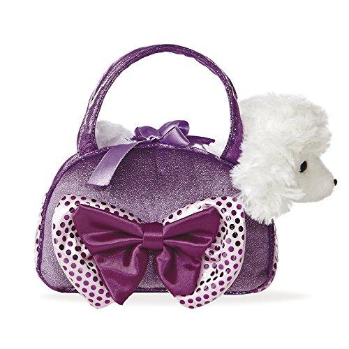 Fancy Pal weißer Pudel in wunderschöner Tasche mit lila Schleife 8In, 20.5 cm (Pudel Handtasche)