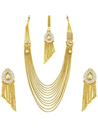 Sukkhi Angelic Ten String Gold Plated Kundan Necklace Set For Women