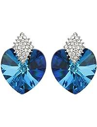 Jewels Galaxy Luxuria Crystal Sapphire Blue Pierced Earrings For Women/Girls