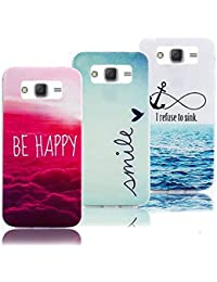 3 X Case pour Galaxy J3 2015 Souple TPU Silicone Etui, Vandot Clouds Colourful Ocean Pattern Cover pour Samsung Galaxy J3 2015 Ultra-mince Thin Slim Housse Coque Anti-choc Anti-scratch Cover Motif Nuages Océan Coquille Prime Accessoires pour Samsung Galaxy J3 2015 SM-J3109 - Smile + Be Happy + I Refuse