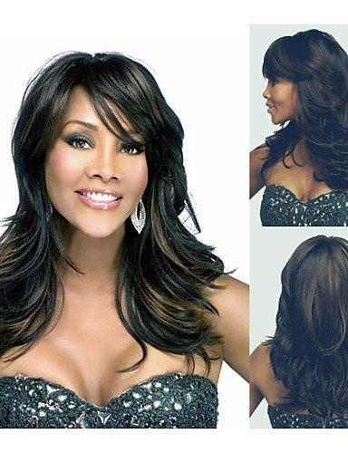 Perruque & xzl Perruques Fashion mode synthétiques perruques afro-américain longs ondulés perruque de cheveux pour les femmes perruques naturelles sexy avec frange