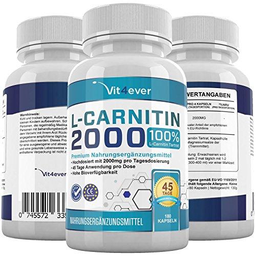 L-Carnitin 2000, 180 Kapseln 500mg, 45 Tage Anwendung, 2000mg Tagesdosierung, 100% Aminosäure