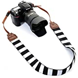 Camera Shoulder Neck Strap By Morxy - Modern Belt For All DSLR Camera Nikon/ Canon/ Sony/ Olympus/ Fujifilm/ Pentax - Perfect Gift For Women (Black And White Stripes)