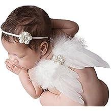 1 Conjunto De Niña Venda Elástico Bebé De La Perla Con La Pluma Del Ángel Alas Trajes Apoyo De La Fotografía Costume Outfits