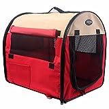 AYCC Portable Pet Zelt, Klapp Camping Zelt Käfig, Leichte Pop-up-Koffer, Weiche Pet Zwinger, mit Wollverzierung,Red-L