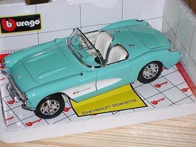 bburago chevrolet corvette 1957 bleu une dÉcapotable 1/18 bburago burago voiture modÈle promotion