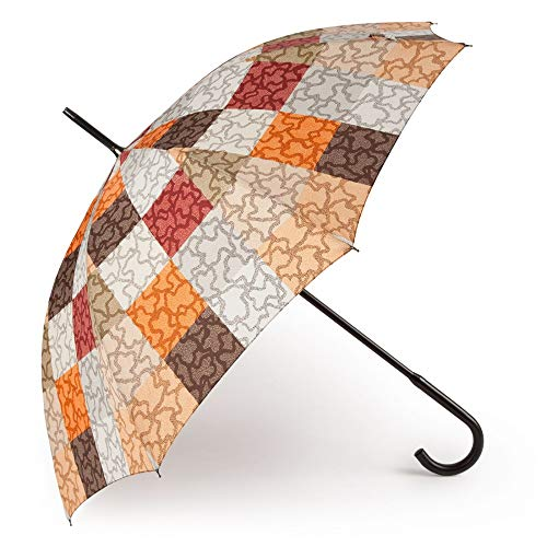 Paraguas Grande Kaos Cuadrados Color Naranja-marrón