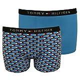 Tommy Hilfiger 2er-Pack Symbol Flagge Logo Print Jungen Boxer Trunks, Blau 10-12 Jahren