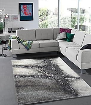Teppich Edler Wohnzimmer Teppich Modern Stein Optik Natur Farben