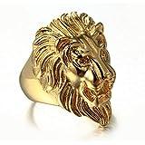 خاتم بتصميم راس الاسد مطلي بالذهب للرجال