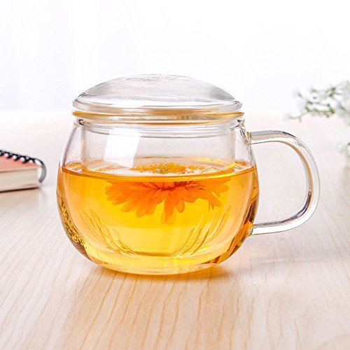 Tasse ronde avec infuseur et couvercle Asentechuk® - 300 ml - En verre transparent
