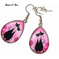 Boucles d'oreilles gouttes chats amoureux cabochon métal argenté rose cadeau fille femme noël