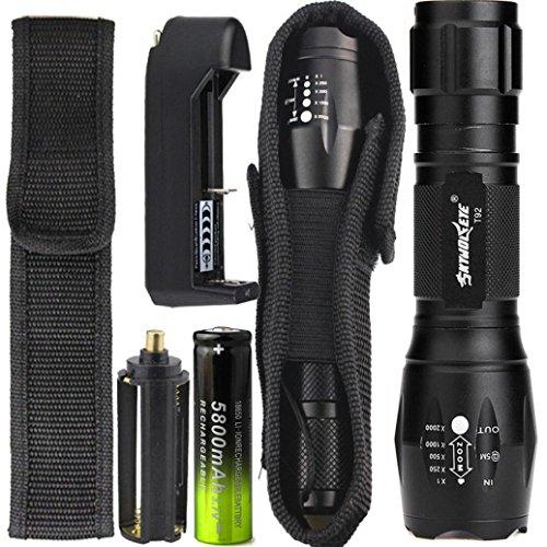 LED Taschenlampe 4000 Lumens, 5 Modi Zoombar Taschenlampe mit 18650 Akku+Ladegerät+Halfter By huichang