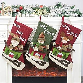 Charlemain Bolsa de Santa, Bolsas de Regalo con Cordón,Navidad Bolsas Adornos Decoraciones para Fiestas y Niños,Tamaño Grande (50x70cm)