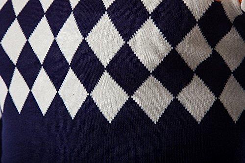 BOMOVO Herren Streifen Feinstrick Strickpullover V-ausschnitt Pullover Sweatshirts Blau
